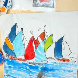 Slikanje na tekstilu kurs - brodić na platnu