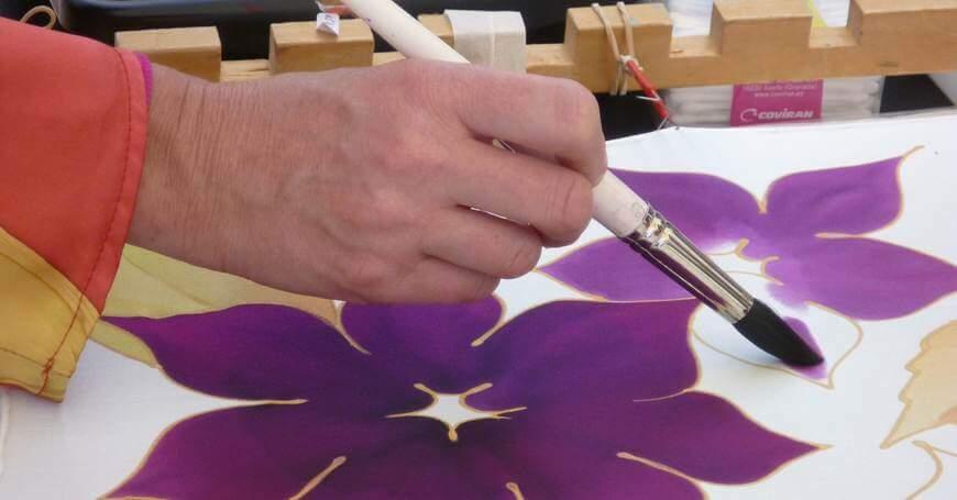Proces slikanja na svil.,
