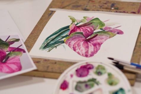 Kreativno oslikavanje cveća vodenim bojama