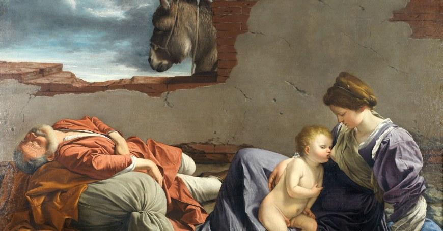 Barokna ilustrativna slika žene sa bebom koju doji muškarca sa strane koji leži